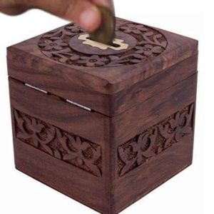 Thanks Giving Gift for Loved Ones, Unique Gift Items Wooden Money Bank, Square Design Carving Work with Lock Coin Box,money box,piggy bank,