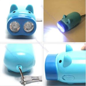 Zczhang fish858 2 LED Hand Pressing Power Wind-up Dynamo Pig Flashlight Lamp