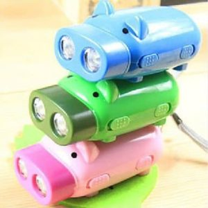 qiuxi Creative children's night light 2 LED Hand Power Press Pig Shaped Flashlight Dynamo Light Torch Keychain (Random Color)