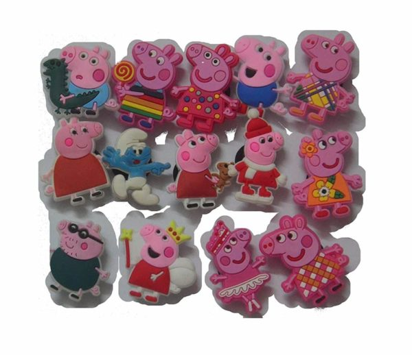 13 Pcs peppa pig PVC Shoe Charms Fit Crocs & Bands Bracelet and Gifts