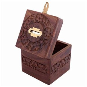 Affaires Beautiful Indian Handmade Wooden Money Bank in Square Shape with Beautiful Carving Design. A Piggy Bank Makes a Unique and Elegant Christmas or Birthday Gift. W-40073