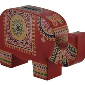 Fiberboard Toy Banks Colorful Elephant Trunk Up Embossed Leather Coin Bank Piggy Bank (Orange) - 8 X 4.75 X 2 Inches - Orange - Style # 3203