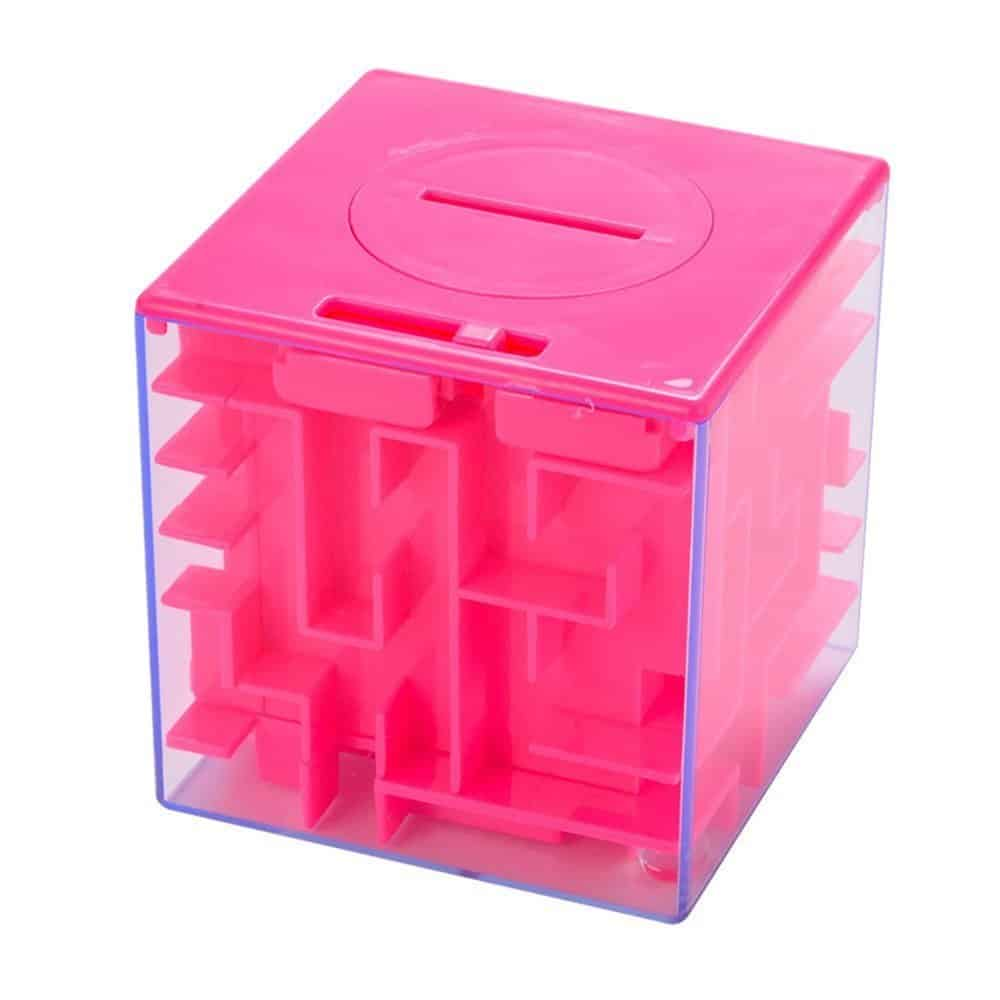 Goodplay 3D Money Box Creative Labyrinth Piggy Bank, Money Maze Cube Bank, Maze Puzzle Box Unique Brain Teaser Puzzles Games Gift for Kids and Adults (Pink)