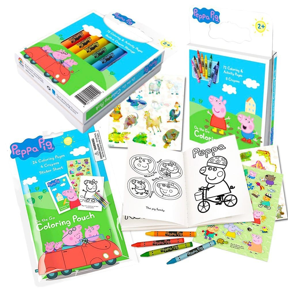 - Peppa Pig Coloring Book Set With Peppa Pig Stickers And Crayons