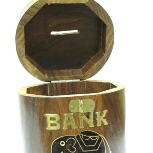 Piggy Bank - Affaires Beautiful Indian Handmade Wooden Money Bank in Round Shape with Beautiful Elephant Design. A Piggy Bank Makes a Unique and Elegant Christmas or Birthday Gift. W-40121