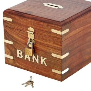 ShalinIndia Indian Coin Bank Money Saving Box - Banks For Kids & Adults - Wood Vacation Piggy Bank