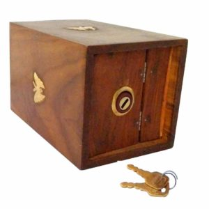 Thanks Giving Gift for Loved Ones, Wooden Coins Storage Box,wooden piggy bank,Square Money Bank With Butterfly Inlay on two sides and Lock to store your money.