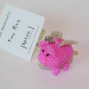 Adorable-Handcrafted-Pink-Flying-Pig-Key-Chain-Backpack-Charm-Purse-Charm-Key-Ring