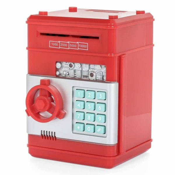 Ainypiggy-bank Code Electronic Money Bank Piggy Money Banks Coin Saving Banks ATM Safty Banks,red