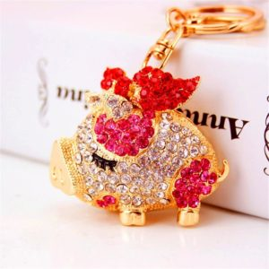 Bling Beauty Fashion Novelty Gifts Trinket Rhinestone Cute Bow Pig Keychain,Charm Gold Plated Women Bag Pendant Keyring (Pink)