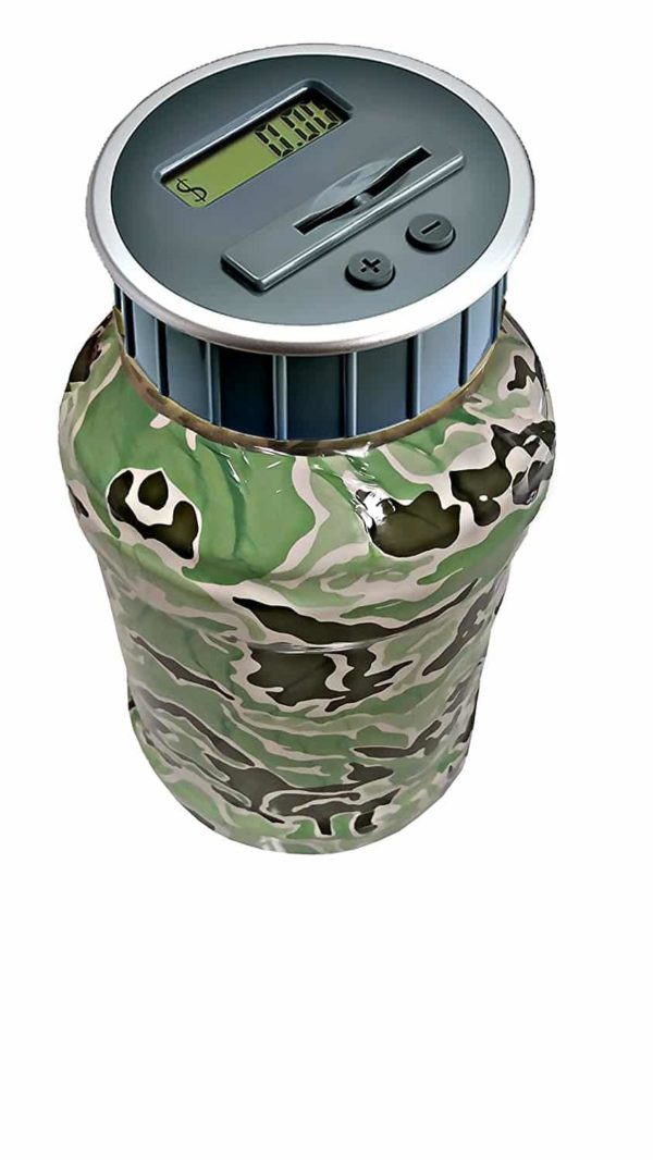 Digital Coin Bank Savings Jar - Automatic Coin Counter Totals all U.S. Coins including Dollars and Half Dollars - Camo