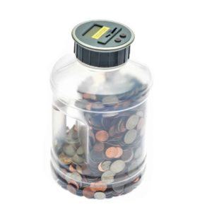 Jumbo Digital Coin Counter By Digital Energy Pennies Nickles Dimes Quarter Savings Jar Clear Jar w LCD Display