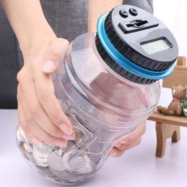 LOBZON Digital Coin Bank Savings Jar Money Box, with Electronic Counting Function, for all US Coins