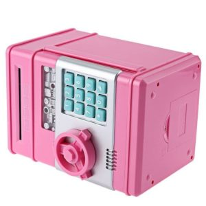 New Style Money Saving Box Cash Coin Can Safe ATM Bank Novelty Tin Birthday Gift(Pink)