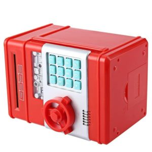 New Style Money Saving Box Cash Coin Can Safe ATM Bank Novelty Tin Birthday Gift(Red)