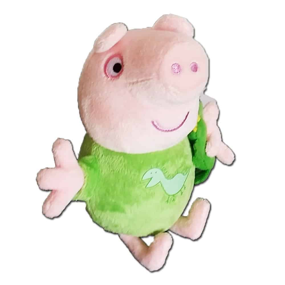 Peppa Pig 17cm Talking Bedtime George With Dinosaur Soft Plush Toy