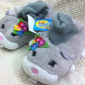 Zhu Zhu Zhuzhu Pets Gray Plush Soft Comfy Kids Size 9-10 Slippers Shoes, Great Halloween Costume Accessory