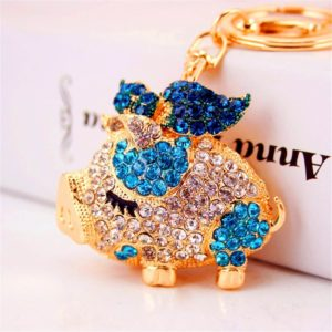 Bling-Beauty-Fashion-Novelty-Gifts-Trinket-Rhinestone-Cute-Bow-Pig-KeychainCharm-Gold-Plated-Women-Bag-Pendant-Keyring-Blue