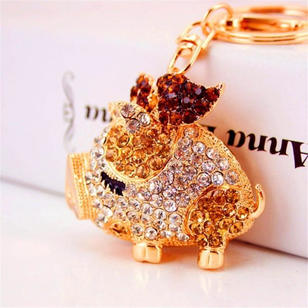 Bling-Beauty-Fashion-Novelty-Gifts-Trinket-Rhinestone-Cute-Bow-Pig-KeychainCharm-Gold-Plated-Women-Bag-Pendant-Keyring-Champagne
