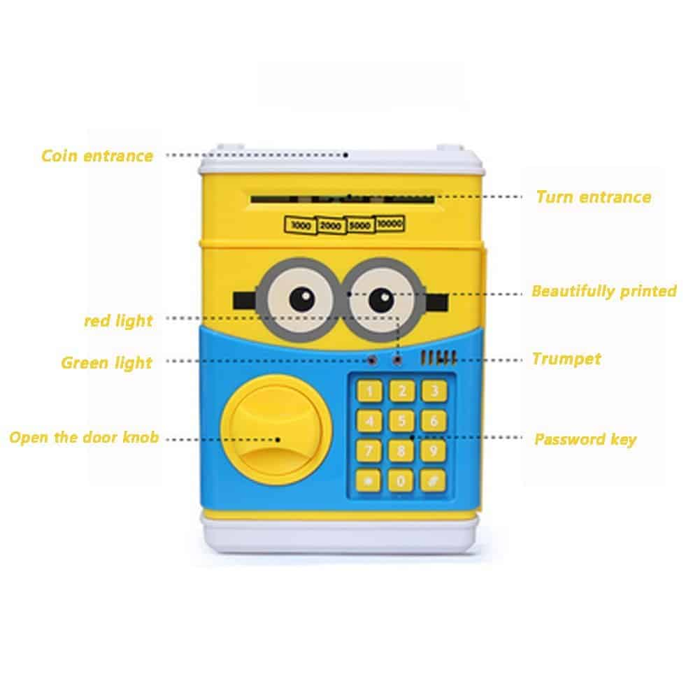 Electronic ATM Piggy Banks Save Money Coin Bank Coin Box With Lock & Secret  Code To Unlock for Password Great Gift Toy for Children Kids (Small yellow