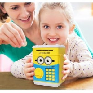Electronic ATM Piggy Banks Save Money Coin Bank Coin Box With Lock & Secret Code To Unlock for Password Great Gift Toy for Children Kids (Small yellow cute)