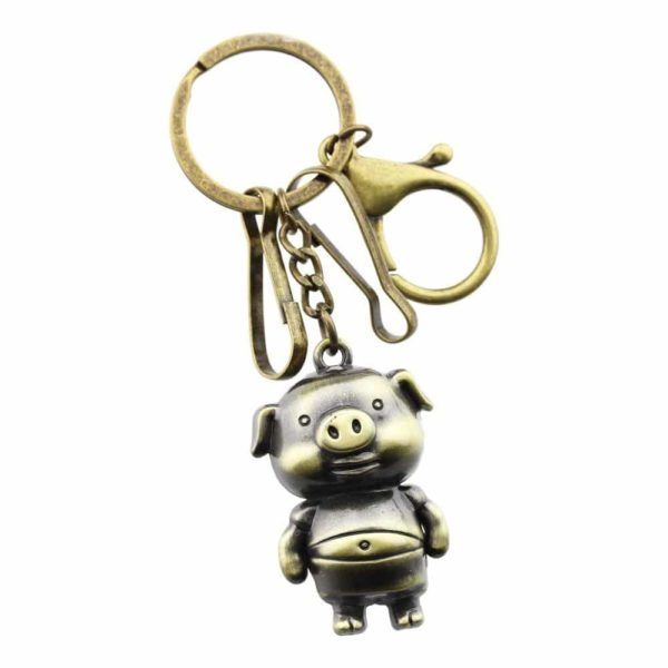 FOY-MALL Fashion Retro Pig Alloy Men Women Bag Charm Keychain T1038
