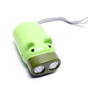Famixyal Cartoon Animal Hand Crank Electric Torch 2 LED Lovely Pig Keychain Flashlight No Battery Hand Press Recharge Camping Outdoor Light (2 pcs Random Color) (1)