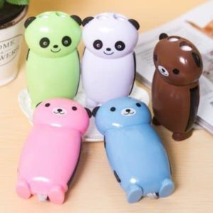 Famixyal Lovely Panda & Bear Cartoon Animal Hand Crank Torch 2 LED Keychain Flashlight No Battery Hand Press Recharge Camping Outdoor Light (2 pcs Random Color) (1)