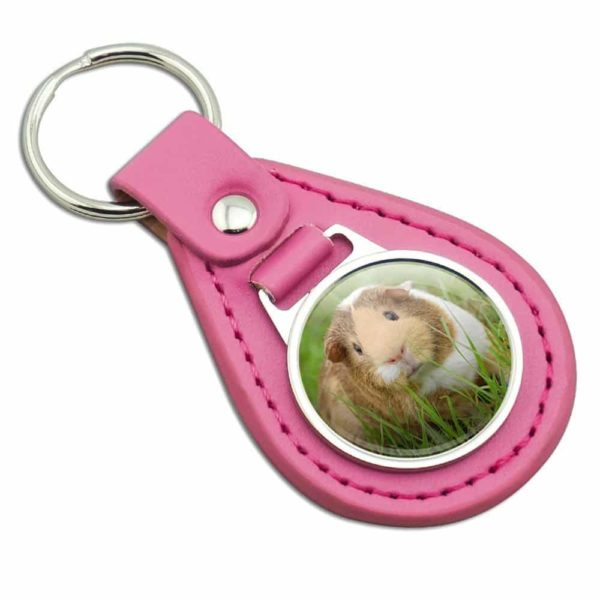 Guinea Pig Cavia Pink Leather Metal Keychain Key Ring
