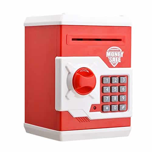 JUMERY Electronic Money Bank, Cartoon Password Piggy Bank Cash Coin Can, Toy Gifts Birthday Gifts for Kids (Red)