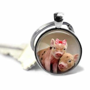 Pig Key Chain - Cuddling Piglets - Pig Keychain - Animal Lover Gift - Key Chain - Keychain