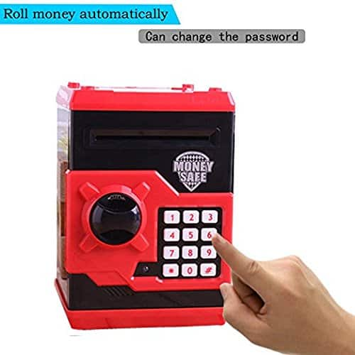 Relexbeauty Code Electronic Password Money Bank Piggy Money Banks Coin Saving Banks Cash Coin Can Saving Banks ATM Safety Banks BLACK & RED