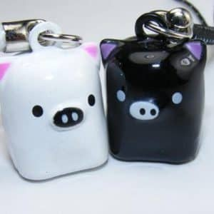 San-x Black & White Pig Strap, Charm, or Keychain, a Set of 2 Pieces