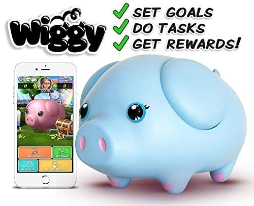 Wiggy Piggy Bank (Sky Blue) Smart Speaking Piggy Bank and Task Tracker